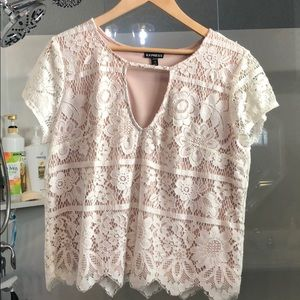 Express off white lace top Large Petite